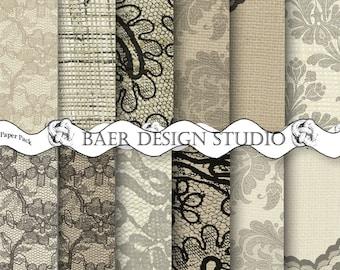 DIGITAL PAPER VINTAGE:Lace Digital Paper, Burlap and Lace Digital Paper, Black Lace Overlay Digital Paper, Hochzeitseinladung, #14126
