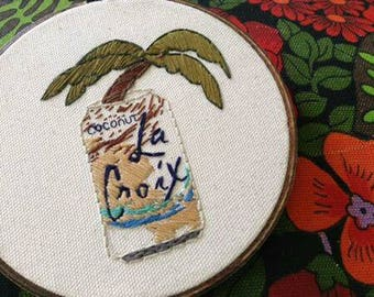 Coconut La Croix Embroidery with Palm Tree Detailing