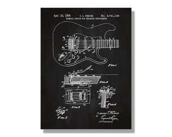 Fender Stratocaster Guitar - Music & Audio Patent - screen print decoration technical design blueprint schematic retro  cool screenprint
