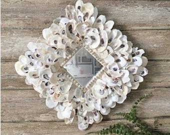 Oyster Shell Mirror, Shell Mirror, Seashell Mirror, Beach Decor, Coastal Decor, Nautical Decor Beach Wedding Gift Small Mirror Accent Mirror