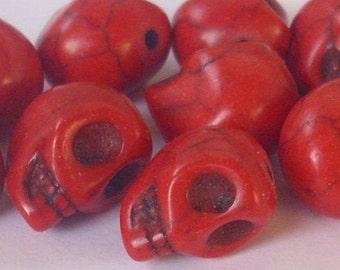 2 beads skull 12 X 9 mm - red howlite