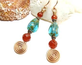 Copper Boho Earrings for Women, Copper Spiral Earring, Blue Czech Glass Carnelian Gemstone Dangle, Unique Bohemian Chic Jewelry Gift for Her