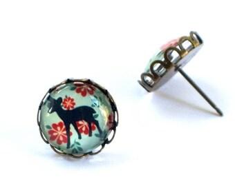 Deer Earrings, Deer Jewelry, Bambi Earrings, Bambi Jewelry, Glass Deer, Deer Earring Stud, Baby Deer Earrings, Fawn Earrings