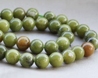Wholesale South Jade 8, 10, 12 mm. Smooth Round Green Jade Stone Bead, Natural Stone and Color, Beads for Handmade Jewelry