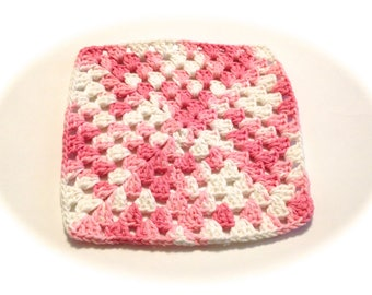 Pink And White Crocheted Square Dish Cloth