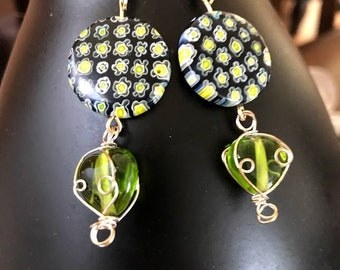 Earrings limes and blue