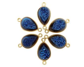 10% SALE Mystic Blue Druzy Teardrop Double Bail Pendant Set In Gold Plated Bezel (S94B19-18)