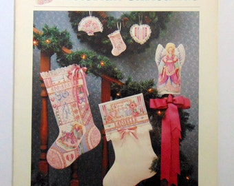 "Counted Cross Stitch pattern leaflet ""Victorian Christmas"" Angel Stockings"
