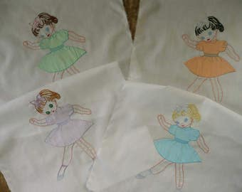 Lot Of Four Vintage Partially Hand Embroidered Quilt Squares With Little Girls Dancing