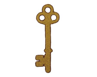 Golden Key Iron On Applique, Key Iron On Patch, Gold Key Applique, Freedom Patch, Fun Patch, Kids Patch, Embroidered Patch