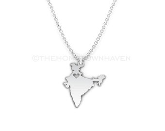 India Necklace - India love necklace, India charm necklace, I heart India necklace