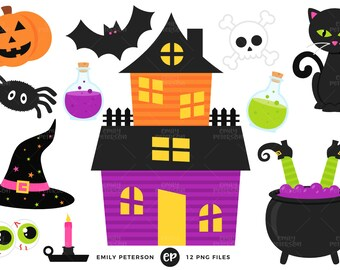 Halloween Clip Art, Haunted House Clipart, Witch Clip Art - Commercial Use, Instant Download