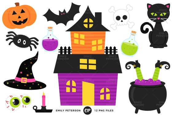 Halloween Clip Art Haunted House Clipart Witch Clip Art