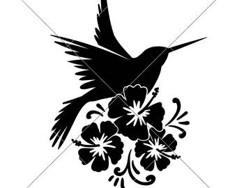 Hummingbird with Flowers Summer Beach Lake SVG dxf File for Cutting Machines like Silhouette Cameo and Cricut, Commercial Use Digital Design