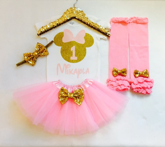 Personalized pink and gold minnie mouse 1st birthday outfit