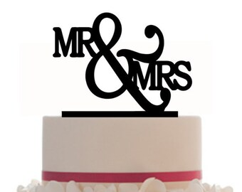 Custom Wedding Cake Topper Mr & Mrs with choice of color