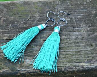 Silk Tassel Earrings teal green tassel with oxidized silver rings handmade jewelry gift for her
