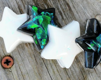 Galaxy Resin Stars - Star Charms - Holographic - Iridescent - Keychains - Planner Charms - Space - Gift for Him or Her - Star Necklace
