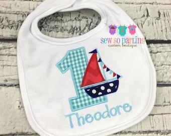 Nautical 1st birthday bib - Personalized 1st birthday Baby Boy Bib - Nautical Baby Bib - Sailboat birthday bib - boy birthday bib - red blue