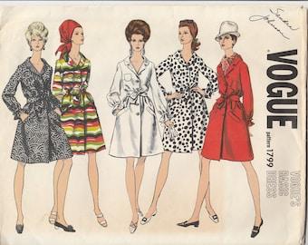60s Button Front Dress Pattern Vogue 1799 Size 12 Uncut