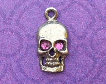 Handmade Skull Charm with Amethyst Crystal Eyes, February Birthstone, Lead Free Pewter, about 17mm x 9mm