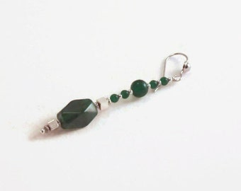Extra Long Dangle Earrings, Green Agate Green Cats Eye Silver Earrings, Modern Style Pierced Earrings, 4 inch