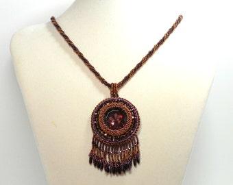 Deep Amethyst Purple and Copper Necklace Beadwoven Vintage German Cut Glass Pendant