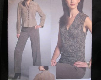 Size 18 - 22, Vogue 2987, Anne Klein New York, American Designer, jacket with great seaming both front and back, wrap top and straight pants