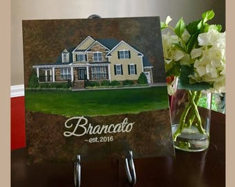 Family Home Painting// Family Name Keepsake // Housewarming Gift// Real Estate Agent Gift// House Painting on Tile// First Home Keepsake