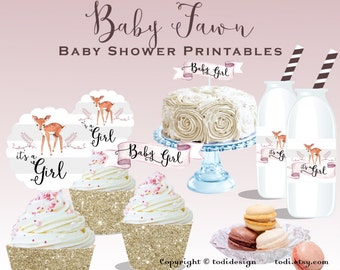Baby Fawn Baby Shower Party Printables - Rustic Baby Shower , Floral Deer