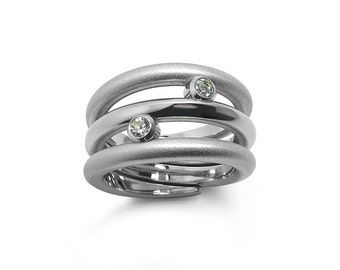 Statement Wide Cocktail Right Hand Ring with White Topaz in Stainless Steel