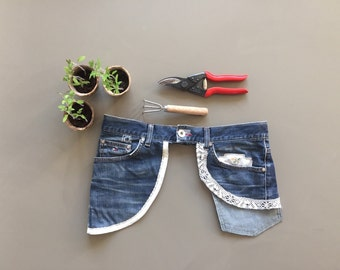 embellished garden apron belt tool, blue denim belt, gift garden lover, sturdy and feminine repurposed garden tool, belt with lace for mum