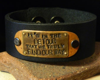 It's In The Detour That We Truly Find Our Way If/Then Mixed Metal and Leather Cuff Bracelet