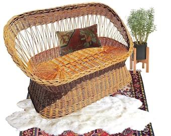 Vintage Rattan Settee Bamboo Woven Love seat Bench Bohemian Decor Bench Barrel Back Beach Coastal Patio Love Seat Meets Boho Interior Chair