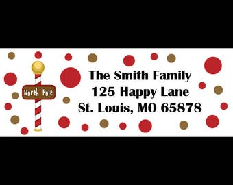 30 Personalized Christmas Return Address Labels  - North Pole Design