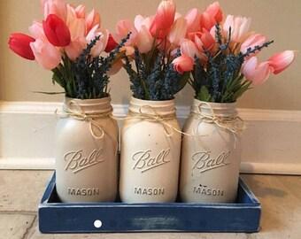 CUSTOM: 8 Quart Jars, Painted Mason Jars