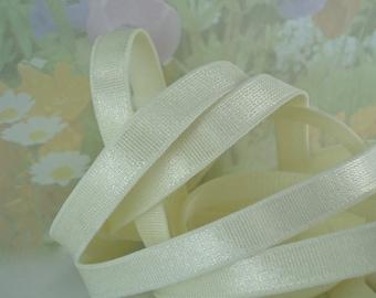 3yds Elastic Satin Ivory Cream 3/8 inch (9mm) Raw White Bra Strap Headband Shiny White Stretch Elastic by the yard 38RWW