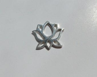 Handmade 925 Sterling Silver Yoga Lotus Pendant Charm Connector, 12mm, PC-0071