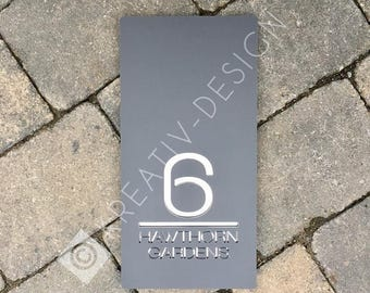 Contemporary House Sign, Door Number, Large Portrait 15cm x 30cm Original and Unique Laser Cut Bespoke/Customised with Road or House Name