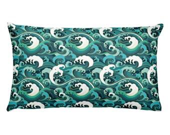 Teal Ocean Rectangular Pillow Beach Home Decor Beach House Decorations Teal Aqua Throw Pillow Bedding Couch Pillow Blue Green Gift