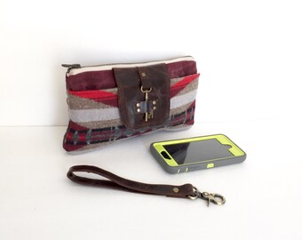 Navajo Blanket Wool, Waxed Canvas & Distressed Leather Smartphone Wallet, Wristlet, Small Purse