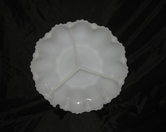 Vintage Milk Glass Scalloped Edge 3 Sectional Plate