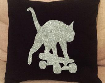 Skateboarding Cat Romeo Glitter Throw Pillow Cover