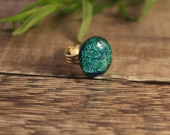 Green dichroic ring, large green ring, green fused glass ring, green sparkly ring