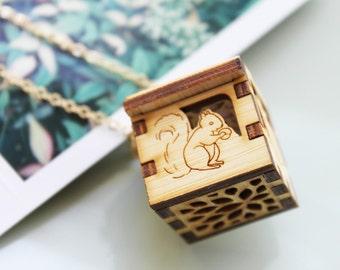 Woodland Animals Locket - Squirrel, Deer, Rabbit, Bear Open/close Wooden Locket