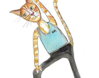 Ginger Tabby Cat In Yoga Pose - Yoga Cat Watercolor Painting - 5x7 Watercolor PRINT - Tabby Cat Yoga Print - Yoga Gift - Gift for Cat Lover