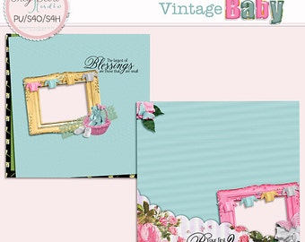 Vintage Baby - Two Premade 12x12 Pages