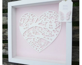 Personalised New baby Paper Cut