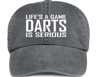 DARTS Life's A Game Dart Throwing Bar Sport Baseball Style Cap Hat