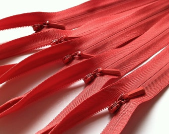 INVISIBLE Zippers- YKK Color 138 Coral- 5 Pieces- Currently available in 9, 14, 16, 18 or 22 Inch